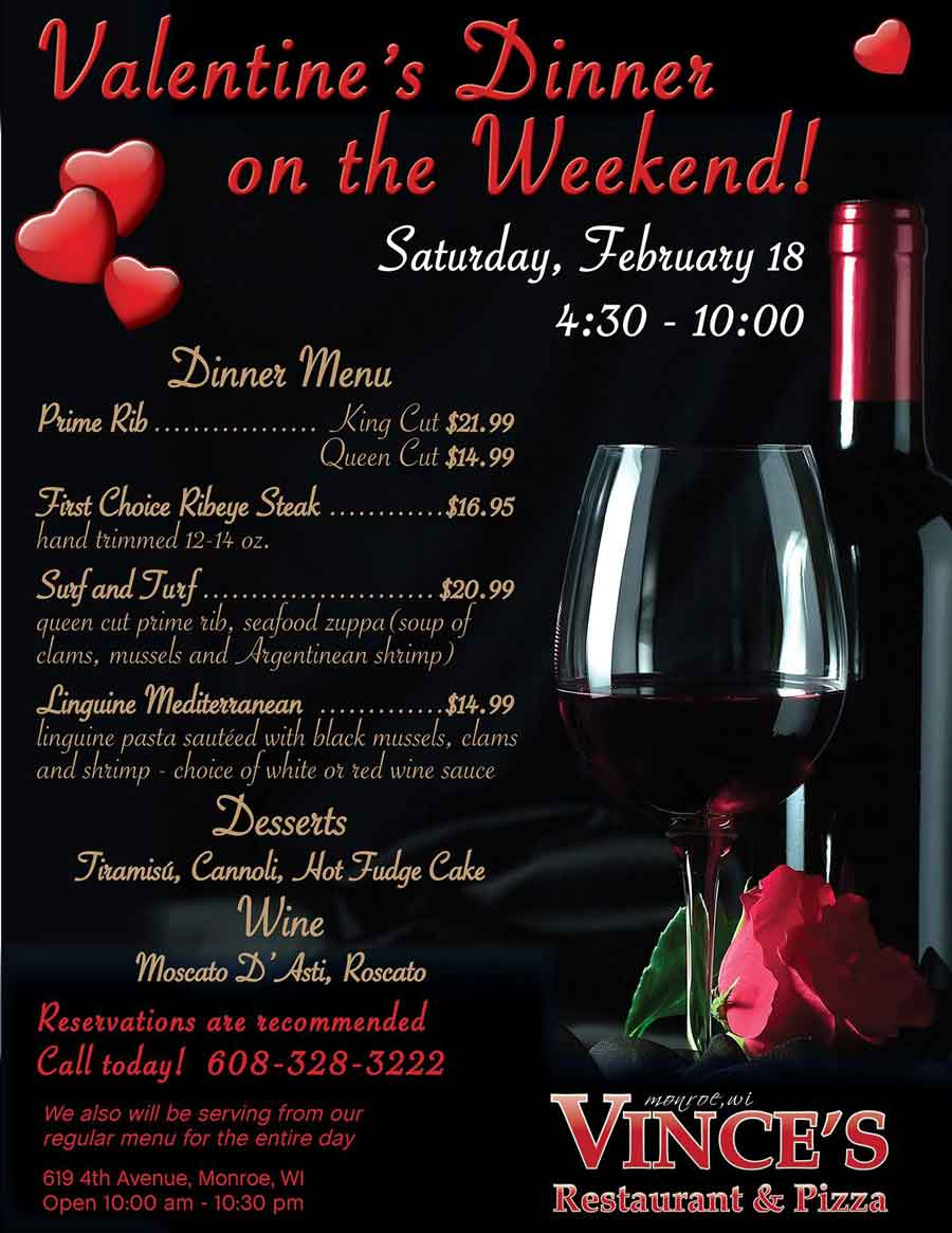 dine with us between 430 1000pm and select items off our special valentines menu including prime rib ribeye steak surf and turf
